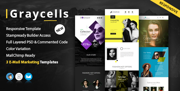 Graycells-Email v5 | 3 Fashion Ecommerce Email Newsletter - Newsletters Email Templates
