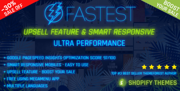 Image of Fastest - Shopify minimal themes, Google Page Speed 97/100, Upsell feature - Boost your sale