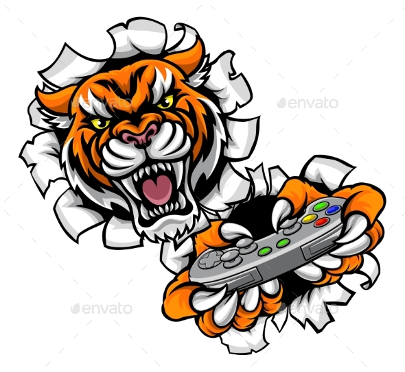 Tiger Esports Gamer Mascot - Sports/Activity Conceptual