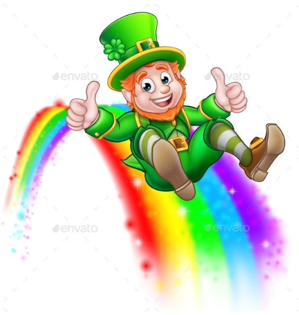 St Patricks Day Leprechaun Sliding on Rainbow - Seasons/Holidays Conceptual