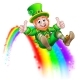 St Patricks Day Leprechaun Sliding on Rainbow