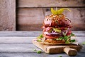 homemade burger with whole grain bun and fried bacon - PhotoDune Item for Sale