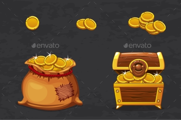 Open Old Bag and Wooden Chest. - Objects Vectors