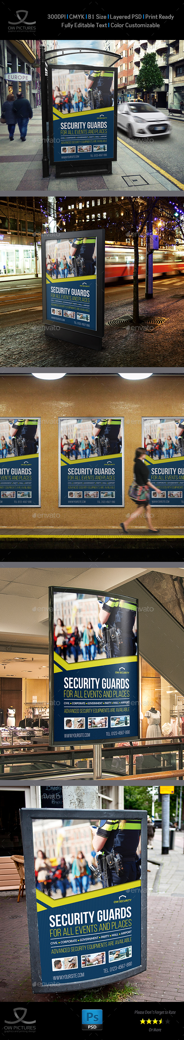 Security Guards Poster Template - Signage Print Templates