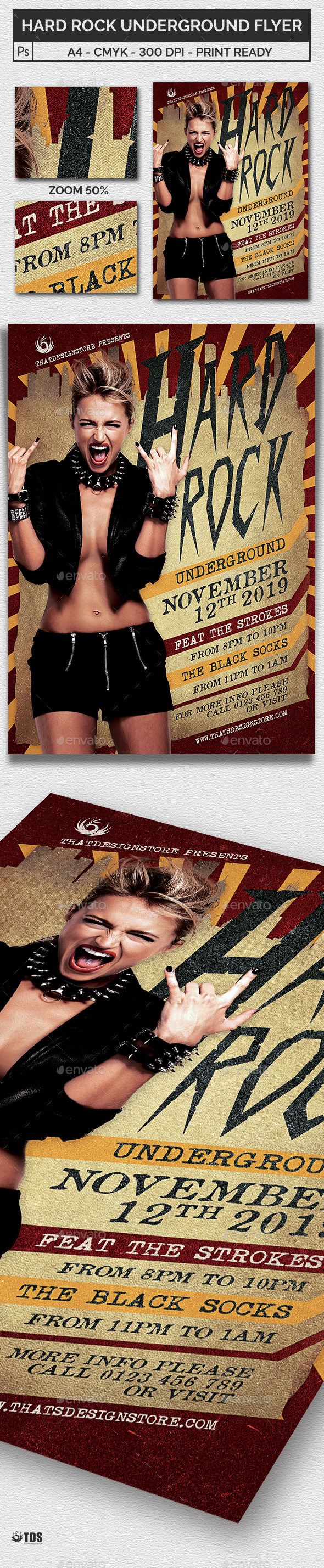 Hard Rock Underground Flyer Template - Concerts Events