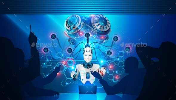 Artificial Intelligence Teaches Business Employees - Technology Conceptual