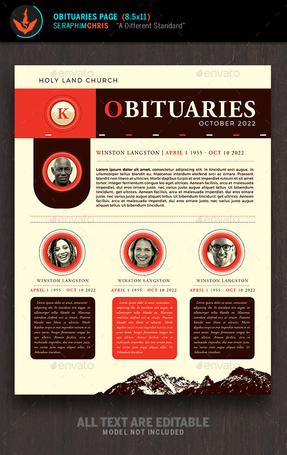 King Modern Church Obituary Page Template - Church Flyers