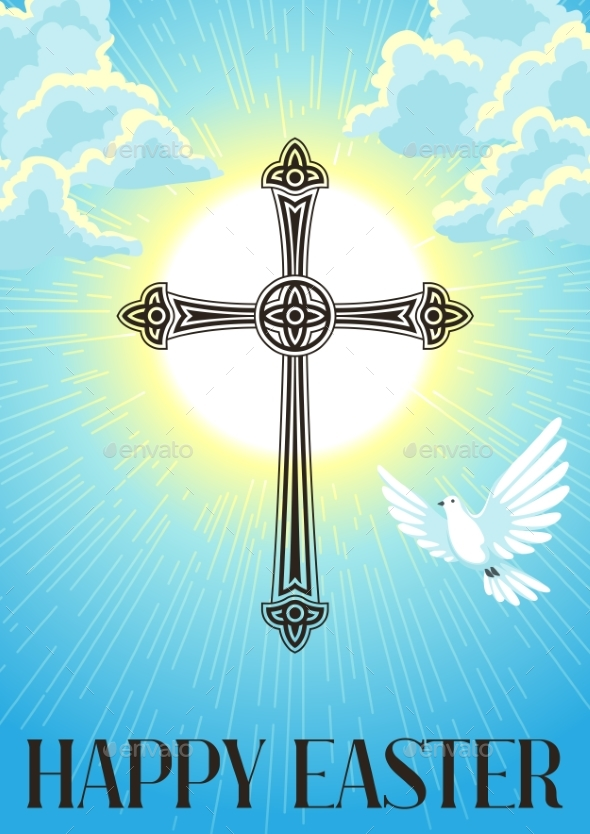 Silhouette of Ornate Cross with Dove. Happy Easter - Religion Conceptual