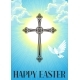Silhouette of Ornate Cross with Dove. Happy Easter - GraphicRiver Item for Sale