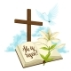 Wooden Cross with Bible, Lily and Dove - GraphicRiver Item for Sale