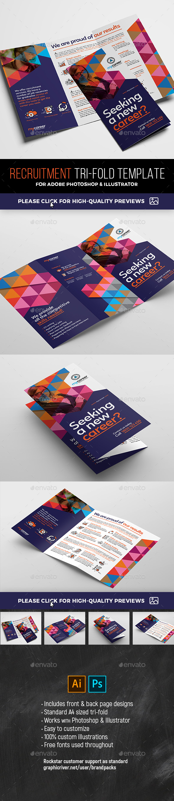 Recruitment Agency Tri-Fold Brochure Template - Corporate Brochures