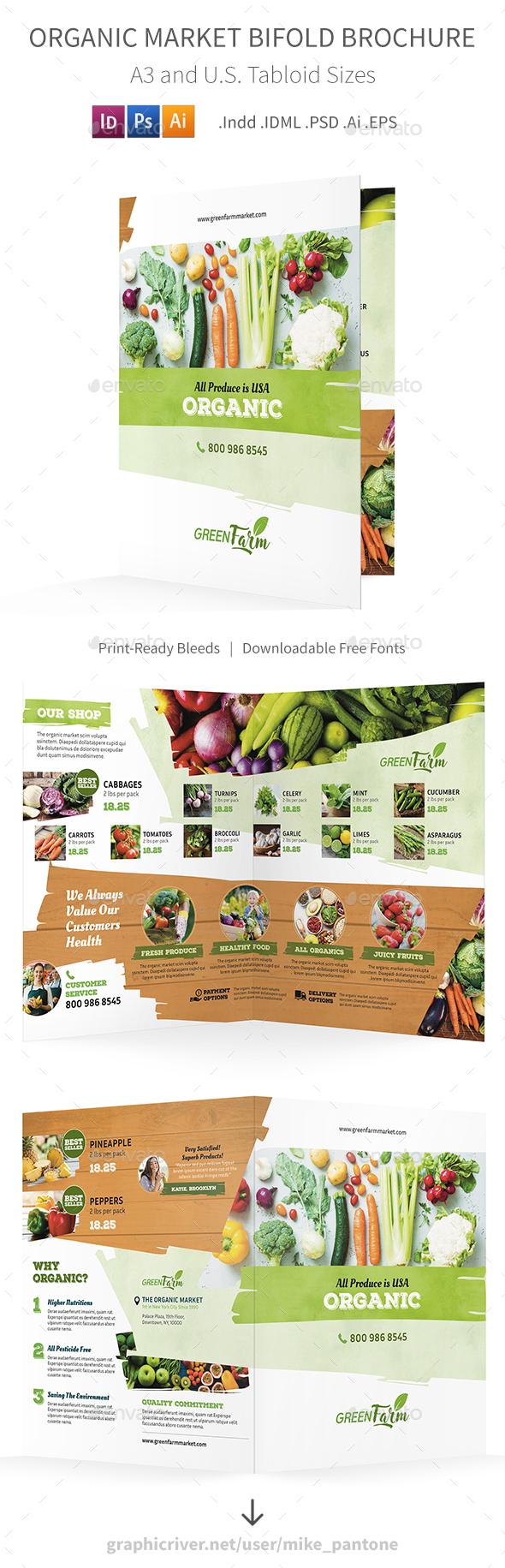 Organic Market Bifold / Halffold Brochure 3 - Informational Brochures