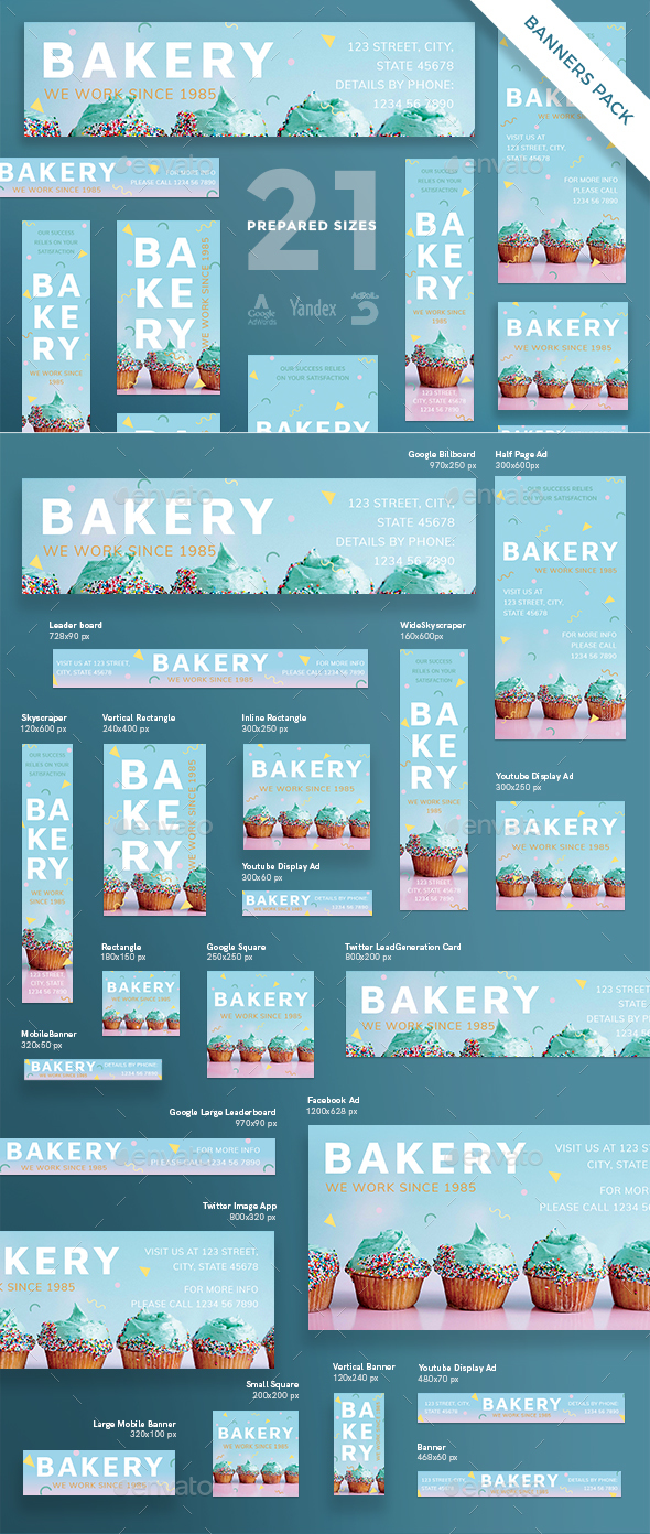 Bakery Banner Pack - Banners & Ads Web Elements