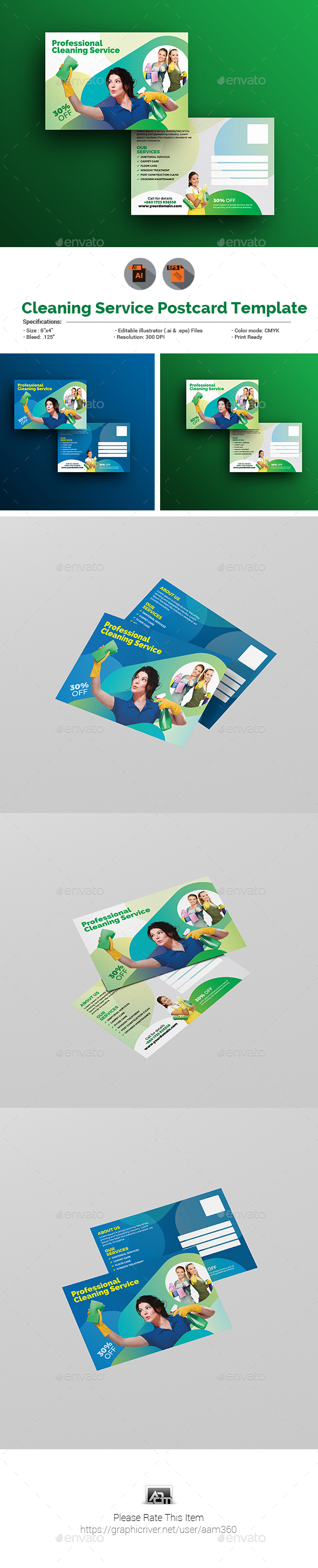Cleaning Service Postcard Template - Cards & Invites Print Templates
