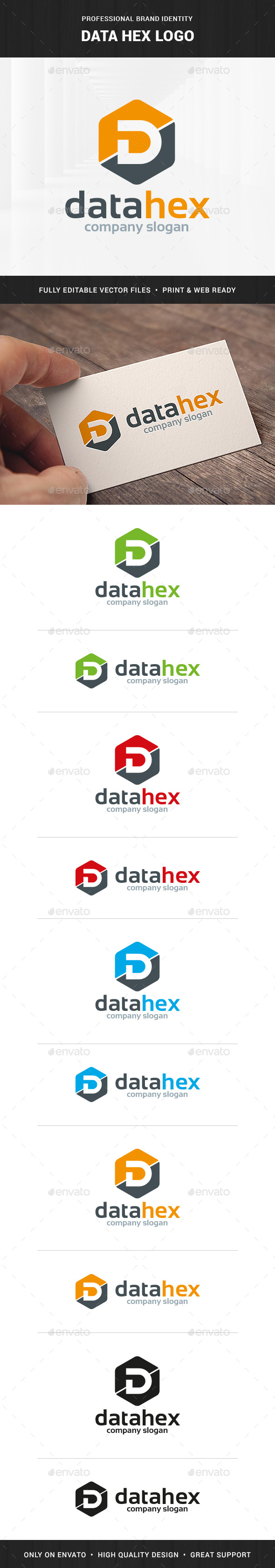 Data Hex - Letter D Logo - Letters Logo Templates