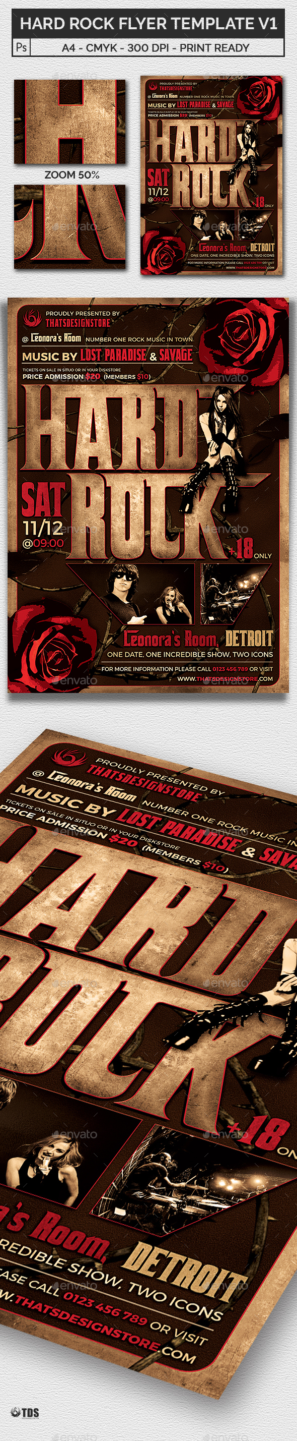 Hard Rock Flyer Template V1 - Print Templates