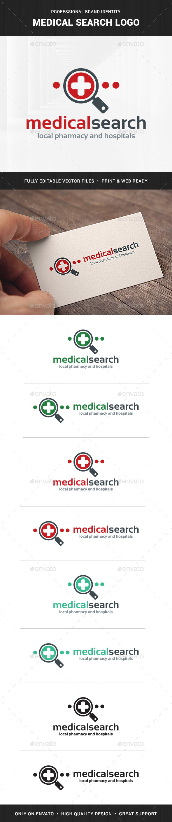 Medical Search Logo Template - Symbols Logo Templates