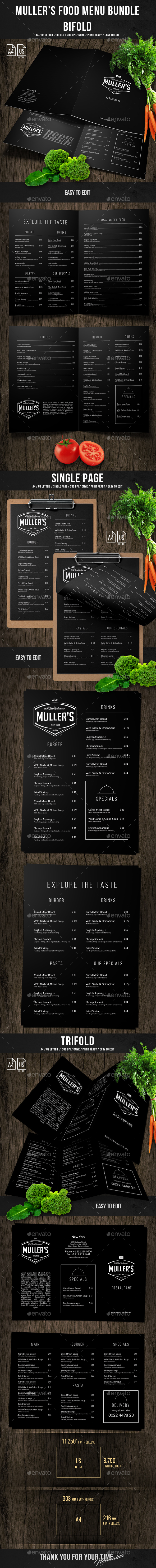 Muller's Food Menu Bundle - Food Menus Print Templates