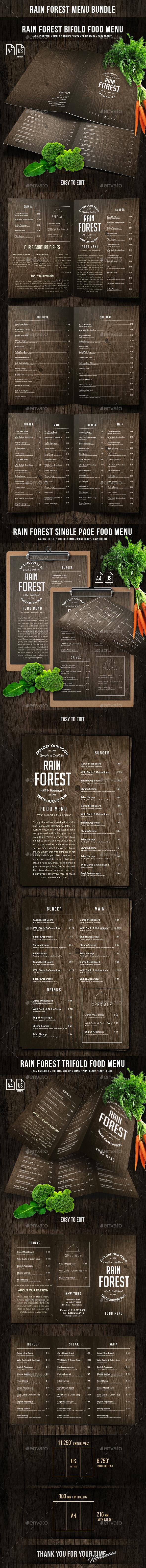 Rain Forest Menu Bundle - Food Menus Print Templates