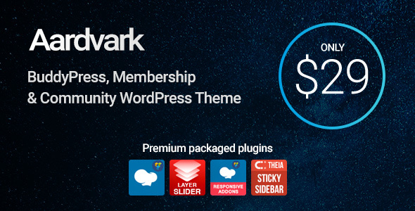 ThemeForest Aardvark BuddyPress Membership & Community Theme 21281062
