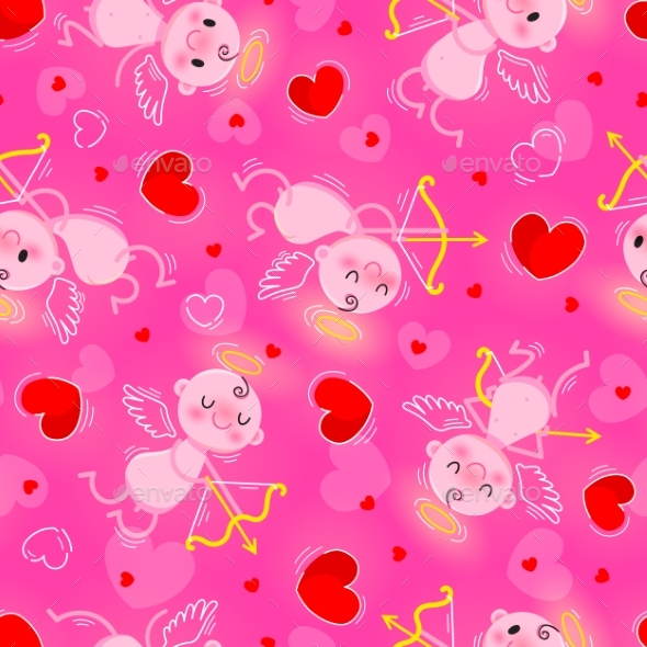 Valentines Day Day Seamless Texture with Lovely - Valentines Seasons/Holidays