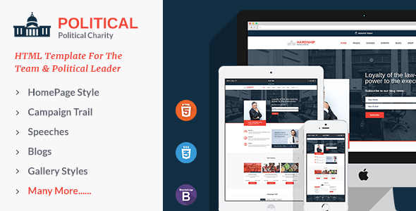 Wonderful Political Responsive HTML5 Template