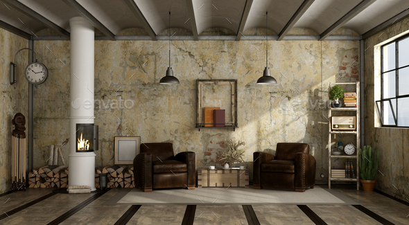 Wood Stove In Grunge A Living Room   Stock Photo   Images