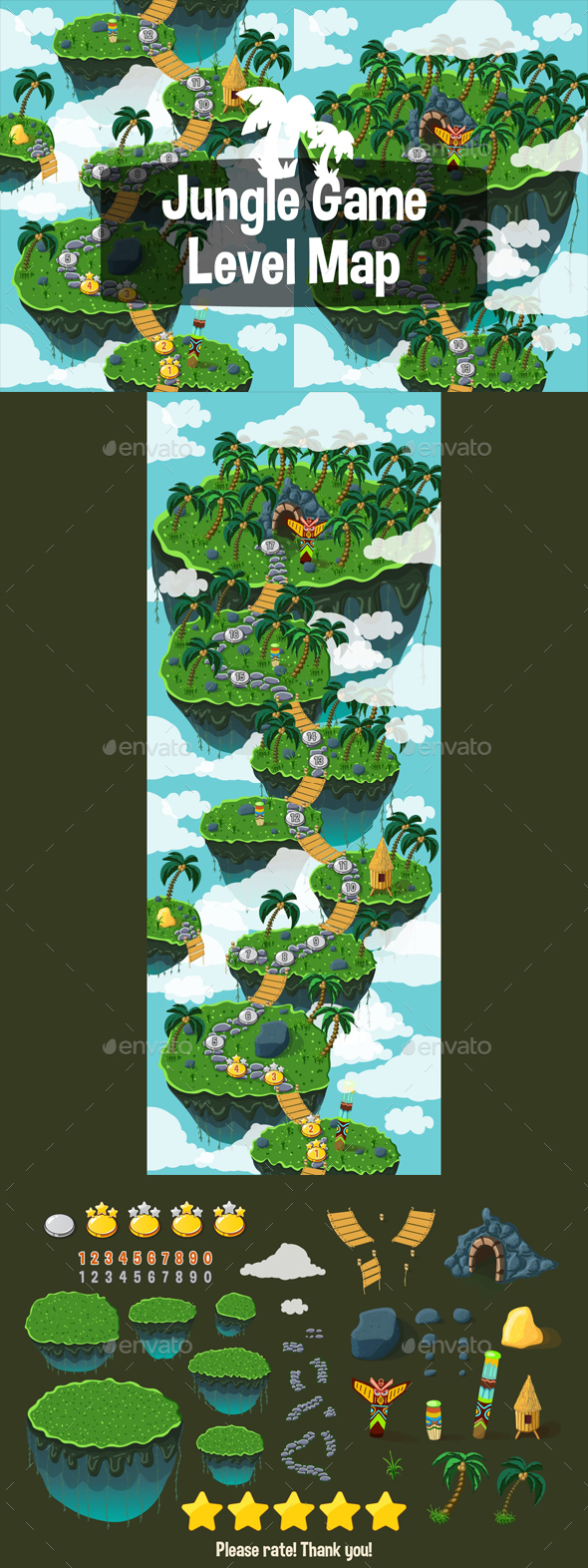 Level Map Backgrounds Jungle - Miscellaneous Game Assets