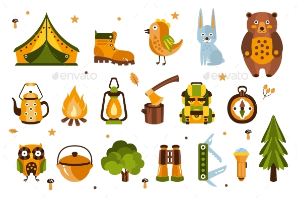 Camping Associated Symbols Illustration - Animals Characters