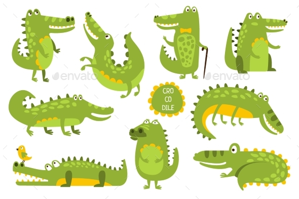 Crocodile Cute Character In Different Poses - People Characters
