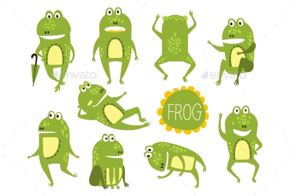 Frog Character In Different Poses Childish - Animals Characters