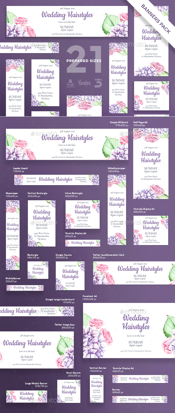 Wedding Hairstyles Banner Pack - Banners & Ads Web Elements