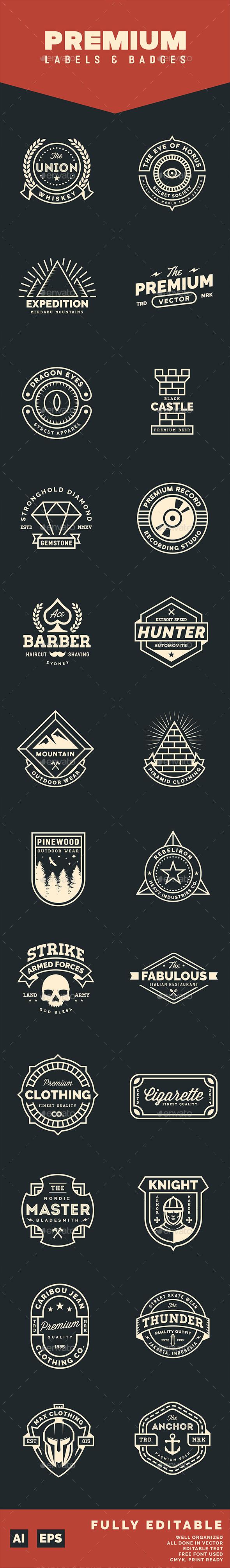 24 Premium Labels and Badges - Badges & Stickers Web Elements