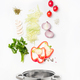 Assorted fresh vegetables falling into a bowl, on white background - PhotoDune Item for Sale