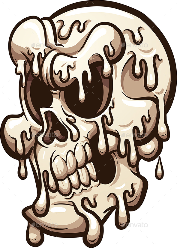 Melting Cartoon Skull - Halloween Seasons/Holidays