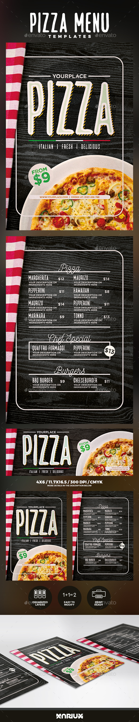 Pizza Menu Templates - Food Menus Print Templates