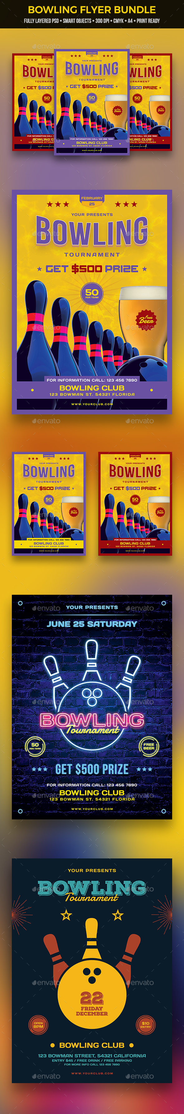 Bowling Flyer Bundle - Clubs & Parties Events