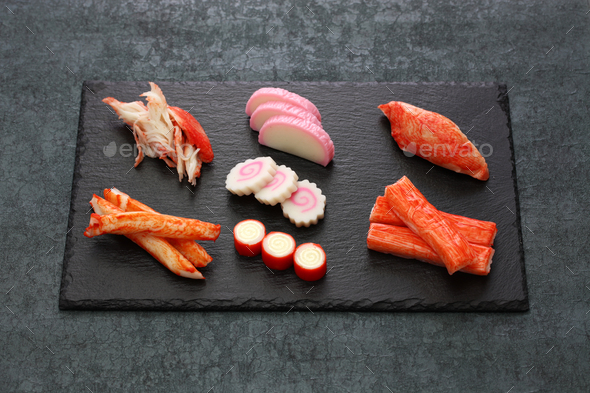 variety of surimi products, imitation crab sticks, japanese food - Stock Photo - Images