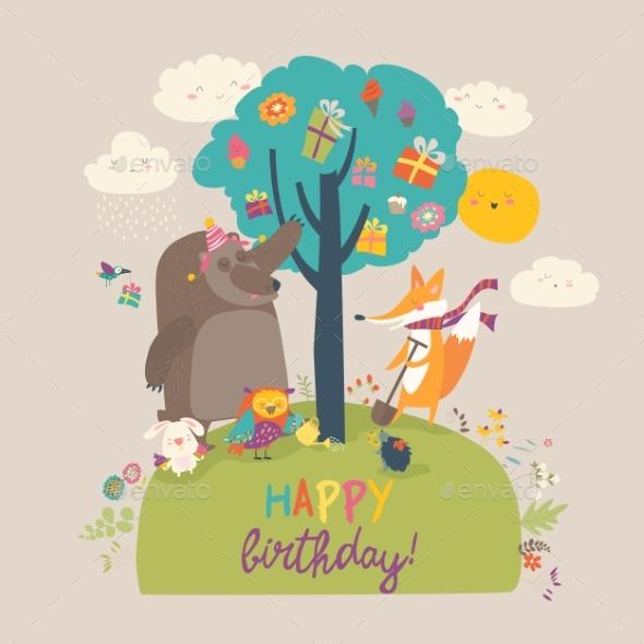 Cartoon Animals Celebrating Birthday in the Forest - Birthdays Seasons/Holidays