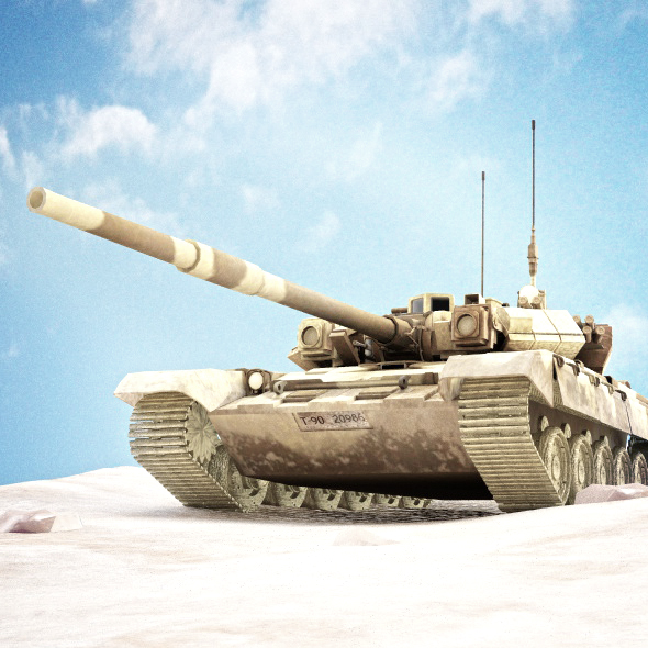 tank t 90 with chain animation - 3DOcean Item for Sale