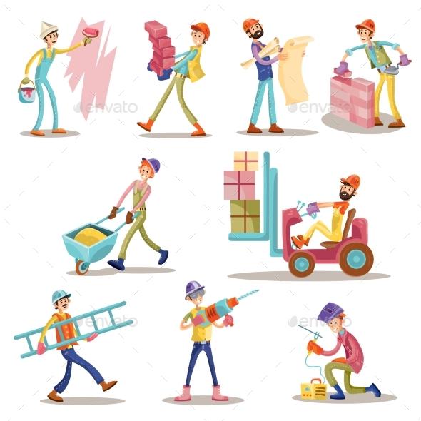 Construction Builders or Workers Men Vector - People Characters