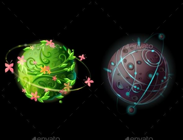 Vector Cartoon Planets for Game Design Set - Miscellaneous Conceptual