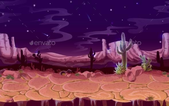 Vector Seamless Desert Night Horizontal Landscape - Nature Conceptual