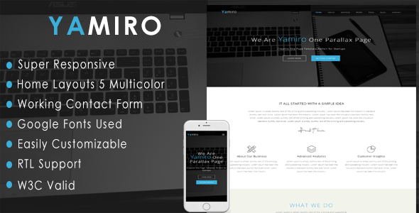 Yamiro - One Page Parallax - Corporate Site Templates