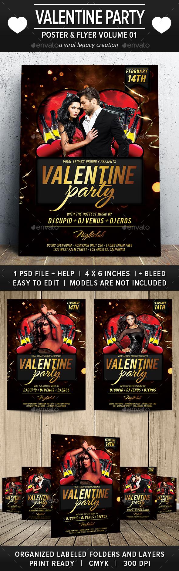 Valentine Party Poster / Flyer V01 - Flyers Print Templates