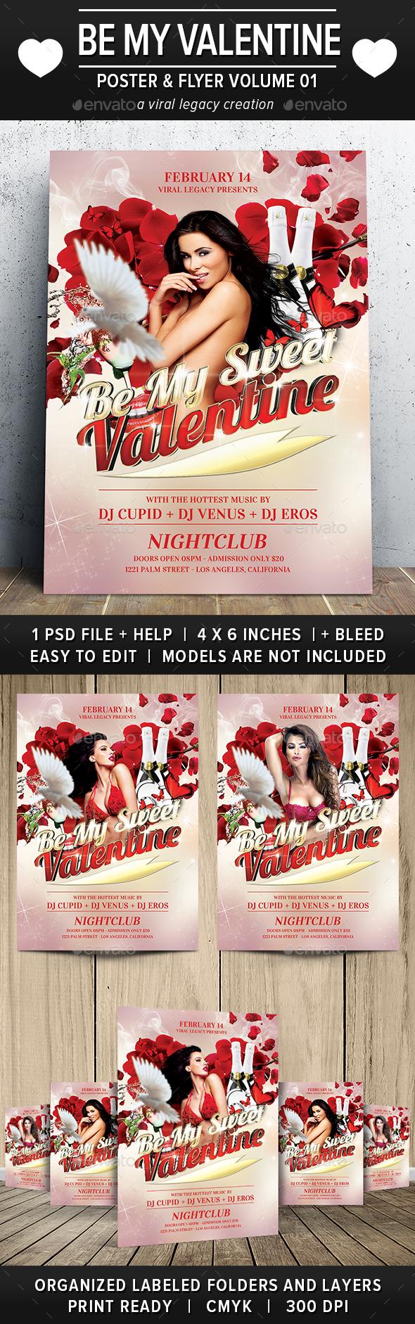 Be My Valentine Flyer V01 - Flyers Print Templates