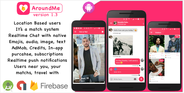 AroundMe Firebase - A powerful dating social network using firebase, credits system, in app and admo - CodeCanyon Item for Sale