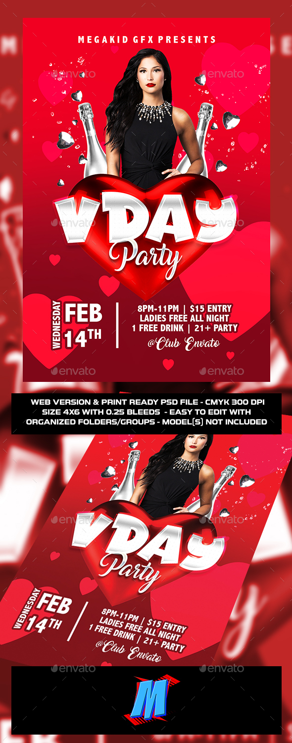Valentines Day Party Flyer Template - Clubs & Parties Events