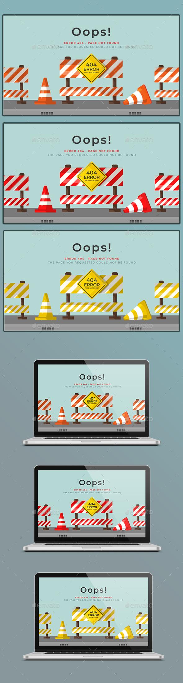 404 Error Closed Roads - 404 Pages Web Elements