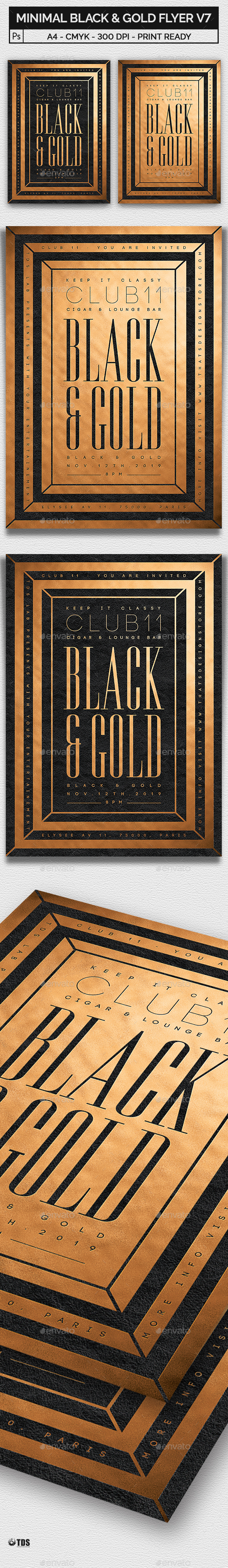 Minimal Black and Gold Flyer Template V7 - Clubs & Parties Events